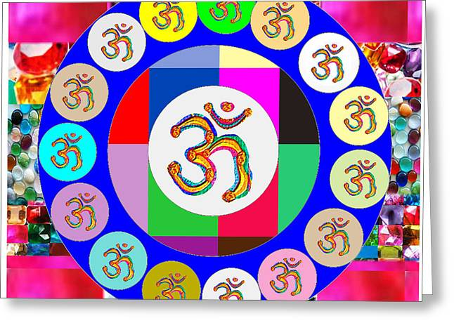 Om Mantra Dedication  Devotion Symbol Assembly By Artist N Reiki Healing Master Navinjoshi Greeting Card by Navin Joshi