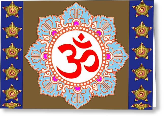 Om Mantra Ommantra Chant Yoga Meditation Tool Greeting Card by Navin Joshi