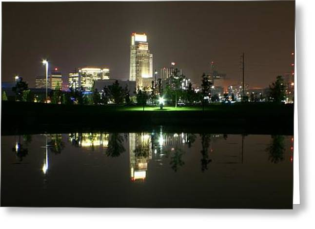 Omaha Skyline Reflection Greeting Card
