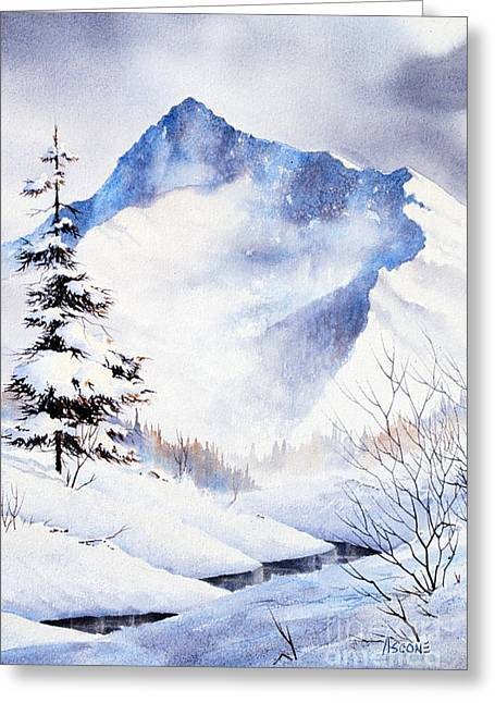 Greeting Card featuring the painting O'malley Peak by Teresa Ascone