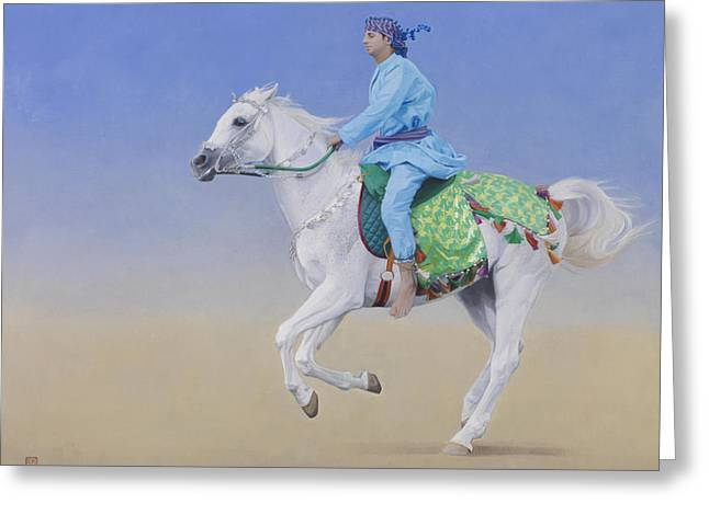 Oman Cavalryman Greeting Card by Emma Kennaway