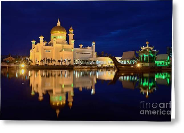Omar Ali Saifuddien Mosque Mirror - Brunei Greeting Card by OUAP Photography