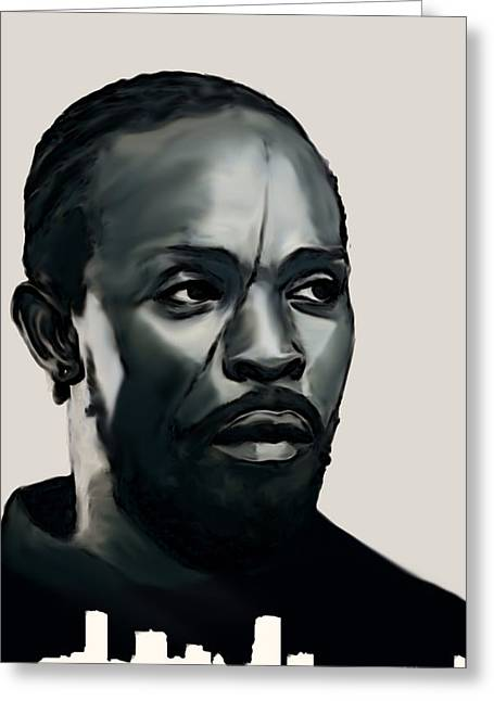 Greeting Card featuring the painting Omar Little by Jeff DOttavio