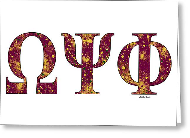 Greeting Card featuring the digital art Omega Psi Phi - White by Stephen Younts