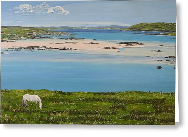 Omey Strand To Omey Island Cladaghduff Connemara Ireland Greeting Card
