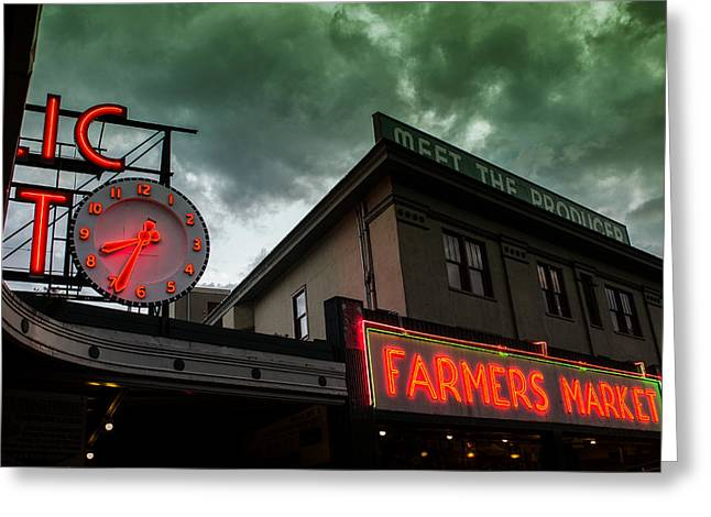 Ominous Scene At The Market Greeting Card by Brian Xavier