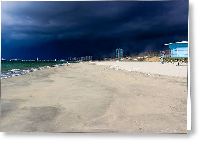 Ominous Sky Over Long Beach Greeting Card by Heidi Smith
