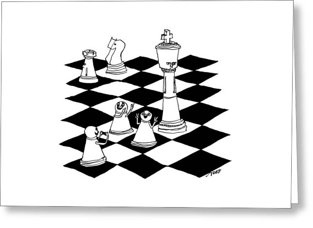On A Chessboard Greeting Card by Edward Steed