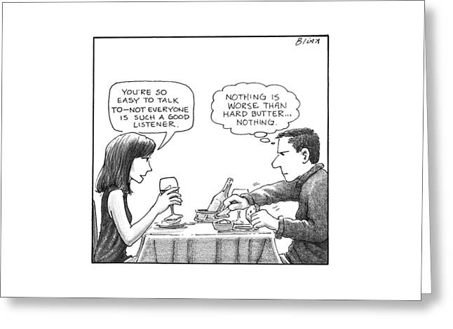 On A Date, A Woman Compliments The Man's Greeting Card