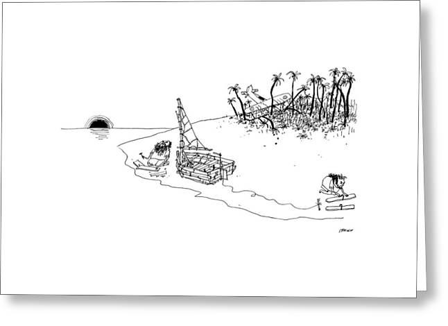 On A Desert Island Greeting Card by Edward Steed