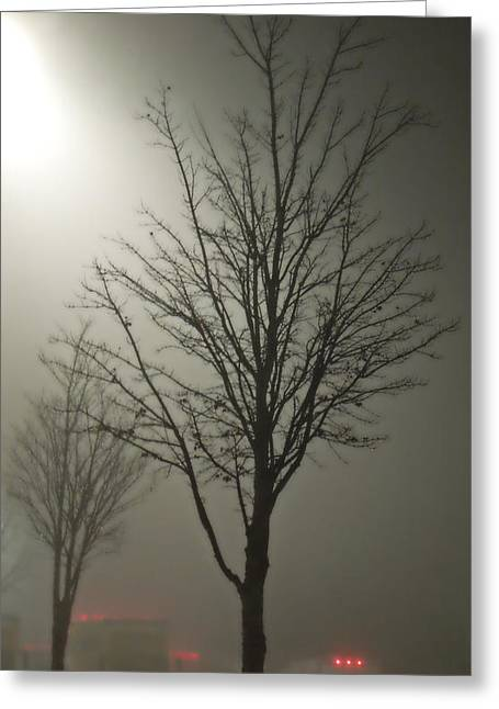 On A Foggy Night Greeting Card by Pete Trenholm