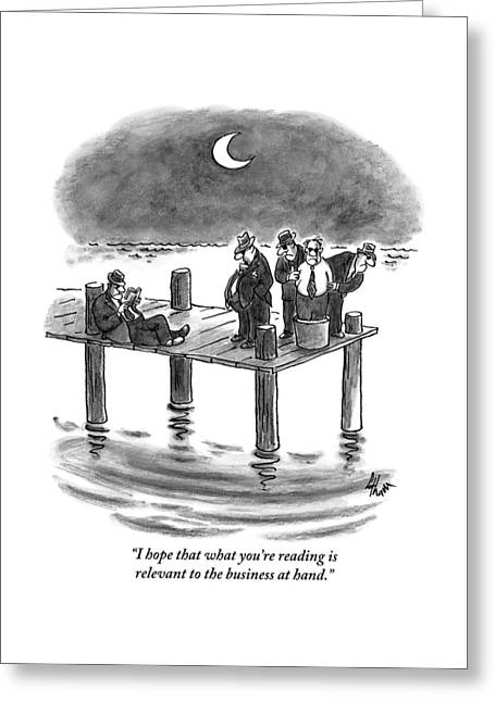 On A Pier, Three Mobsters Prepare To Drown Greeting Card