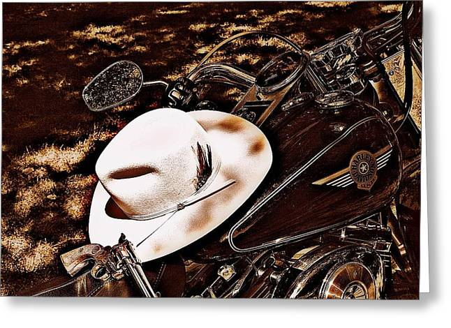 On A Steel Horse Greeting Card by Karen Kersey