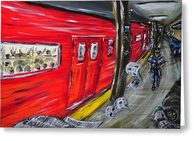 On A Subway Platform Greeting Card by Ka-Son Reeves