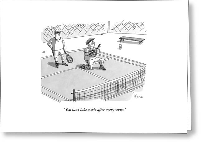 On A Tennis Court Greeting Card by Zachary Kanin
