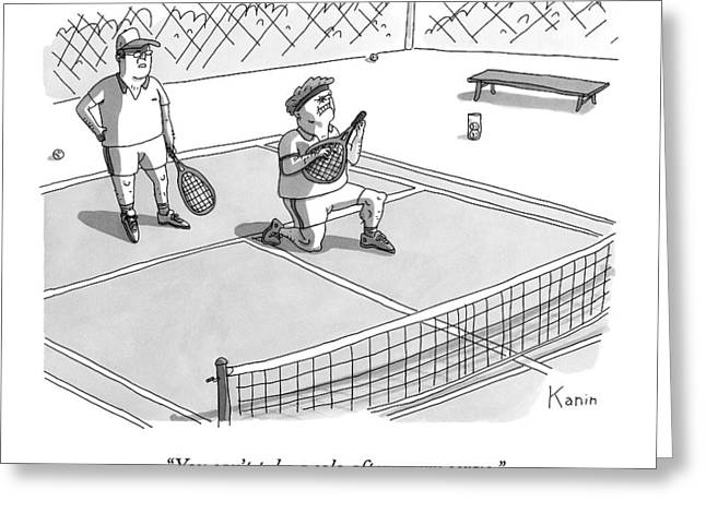 On A Tennis Court Greeting Card