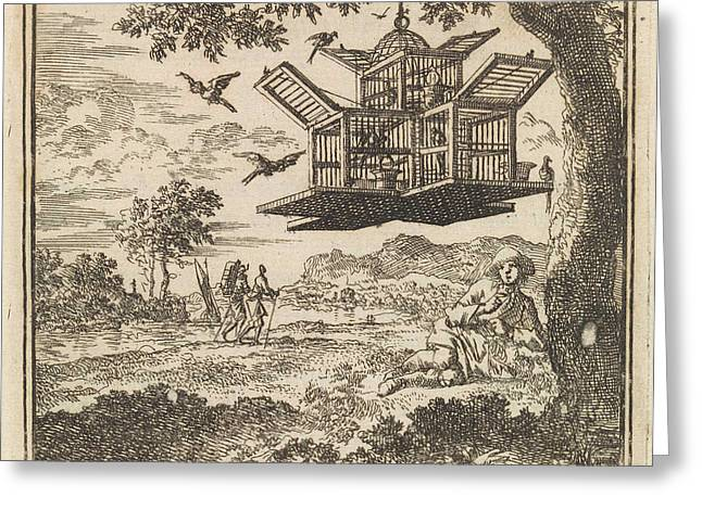 On A Tree Hangs A Birdcage, Jan Luyken Greeting Card by Jan Luyken And Wed. Pieter Arentsz & Cornelis Van Der Sys (ii)