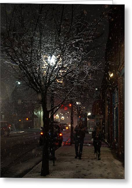 On A Walk In The Snow - Grants Pass Greeting Card by Mick Anderson