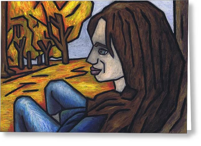 On A Warm Autumn Day Greeting Card by Kamil Swiatek