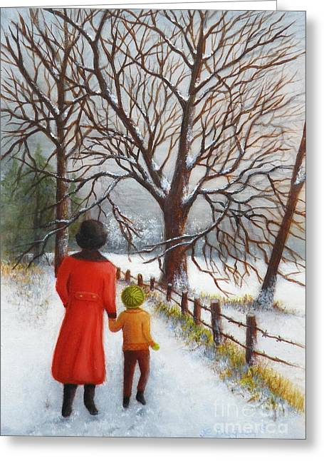 On A Wintry Walk With Gran Greeting Card