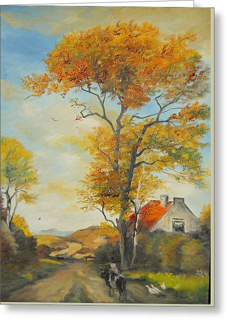 Greeting Card featuring the painting On Country Road  by Sorin Apostolescu
