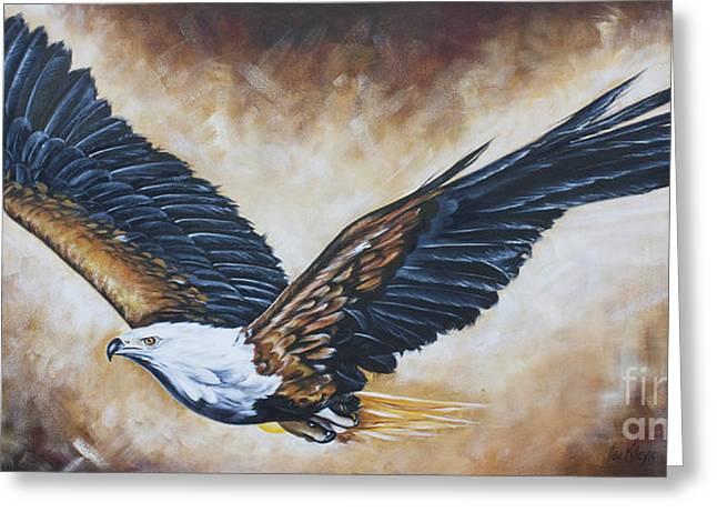 On Eagle's Wings Greeting Card by Ilse Kleyn