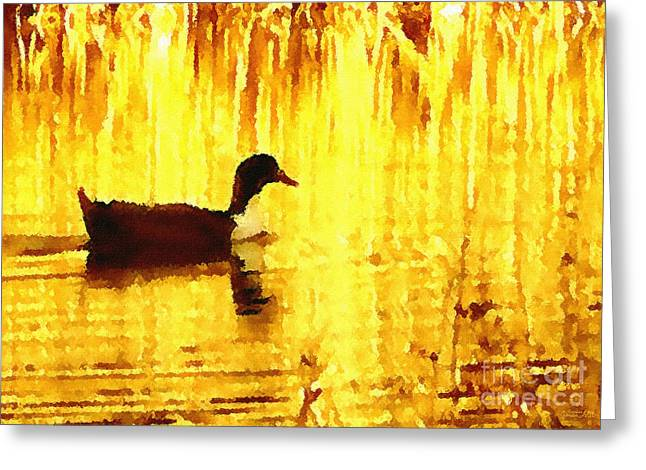 Greeting Card featuring the digital art On Golden Pond by Cristophers Dream Artistry