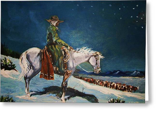 Greeting Card featuring the painting On Night Herd In Winter by Al Brown