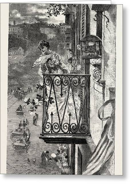 On The Balcony At Naples, Italy Greeting Card