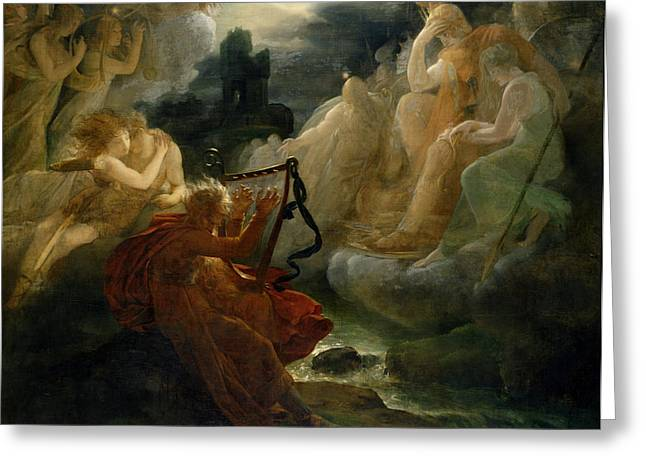 On The Bank Of The Lora, Ossian Conjures Up A Spirit With The Sound Of His Harp, C.1811 Oil Greeting Card by Francois Pascal Simon, Baron Gerard