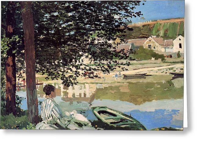 On The Bank Of The Seine Greeting Card by Claude Monet