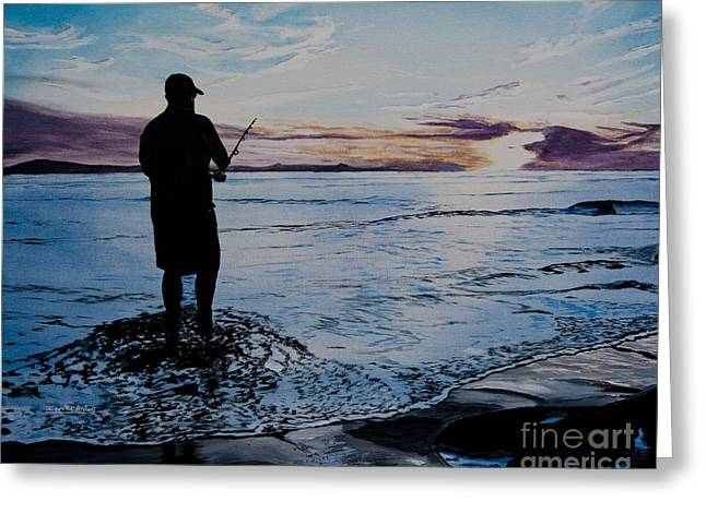 On The Beach Fishing At Sunset Greeting Card by Ian Donley