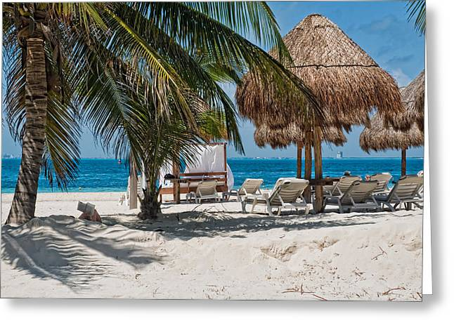 White Sandy Beach In Isla Mujeres Greeting Card