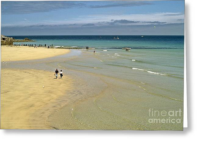 On The Beach St Ives Greeting Card by David Davies