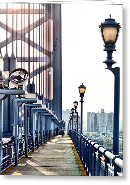 On The Ben Franklin Bridge Greeting Card by Bill Cannon