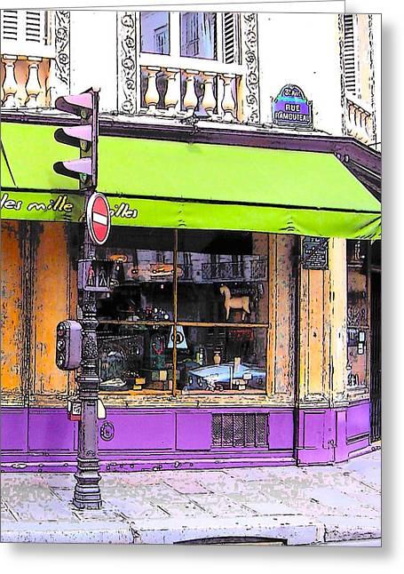 On The Corner Of Rue Rambuteau Greeting Card by Jan Matson