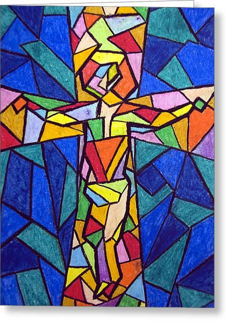 On The Cross Greeting Card by Matthew Doronila