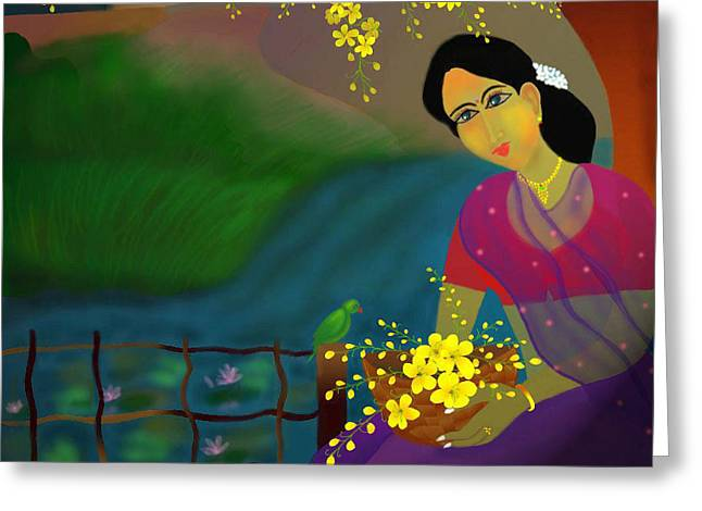 Greeting Card featuring the digital art On The Eve Of Golden Shower Festival by Latha Gokuldas Panicker