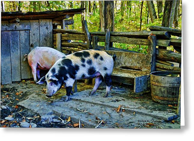 On The Farm Greeting Card by Kenny Francis