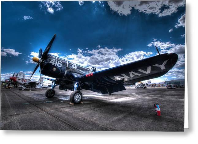 On The Flight Line.  F-4u Corsair At Reno Air Races Greeting Card by John King