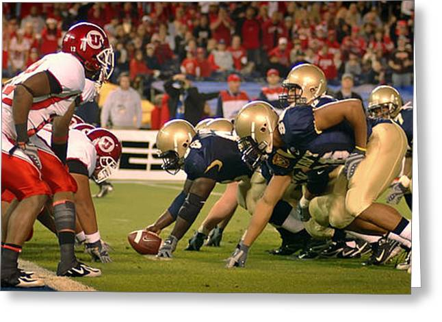 On The Goal Line - Notre Dame Vs Utah Greeting Card