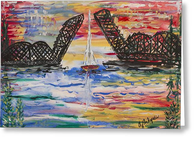 On The Hour. The Sailboat And The Steel Bridge Greeting Card