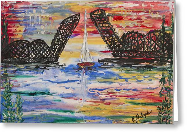 On The Hour. The Sailboat And The Steel Bridge Greeting Card by Andrew J Andropolis