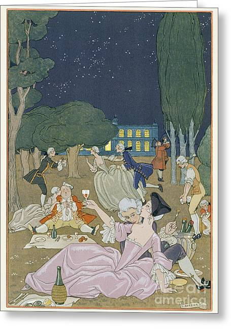 On The Lawn Greeting Card by Georges Barbier