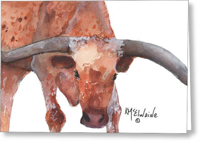 On The Level Texas Longhorn Watercolor Painting By Kmcelwaine Greeting Card by Kathleen McElwaine