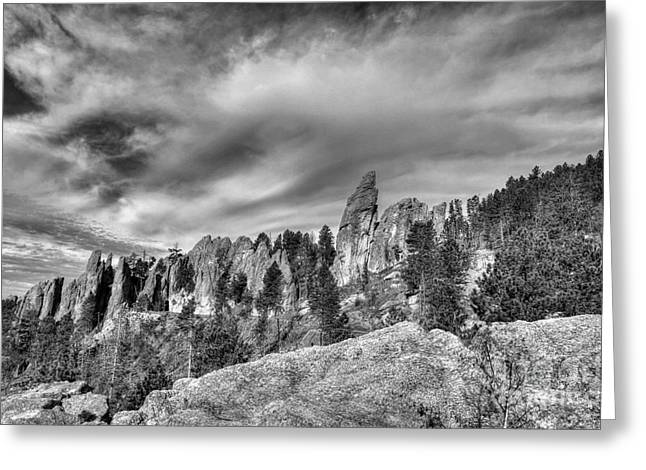 On The Needles Highway 5 Bw Greeting Card