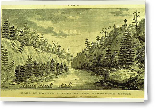 On The Ontonagon River, Engraving 1821, Narrative Journal Greeting Card by Litz Collection