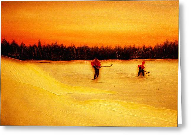 On The Pond With Dad Greeting Card