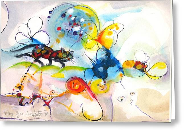 Greeting Card featuring the painting On The Prowl by Mary Armstrong