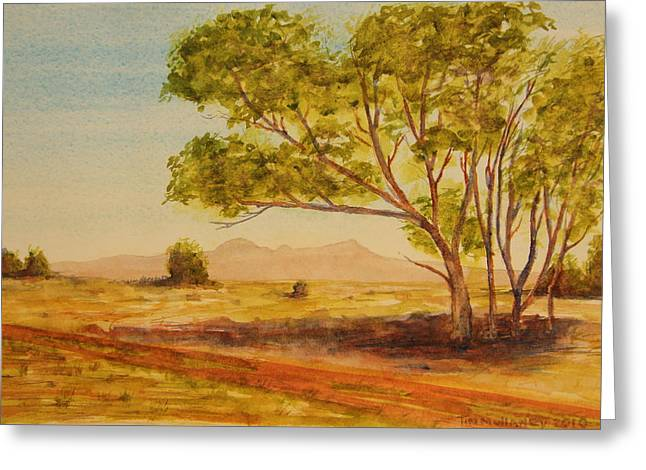Greeting Card featuring the painting On The Road To Broken Hill Nsw Australia by Tim Mullaney